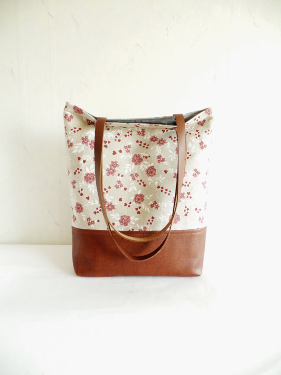 cef459fbd1 Leather and cotton tote bag