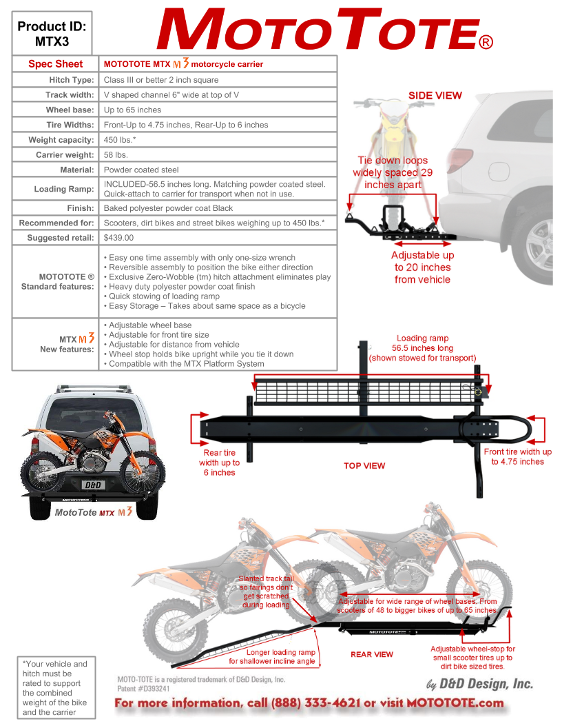 MTX m3 Motorcycle Carrier Mobil