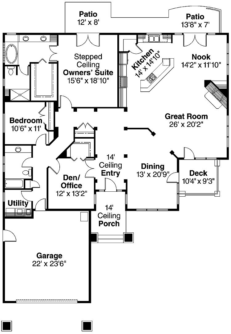 simple two bedrooms house plans for small home modern two