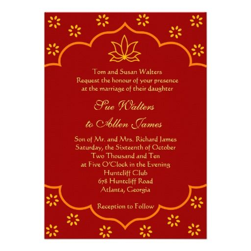 Modern Indian Wedding Invitation Zazzle Com
