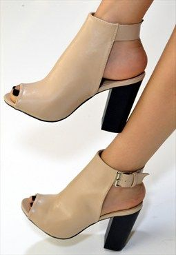 04d8d2cf9dee SIDRA High Block Heel Cut Out Buckle Ankle Boots In Nude