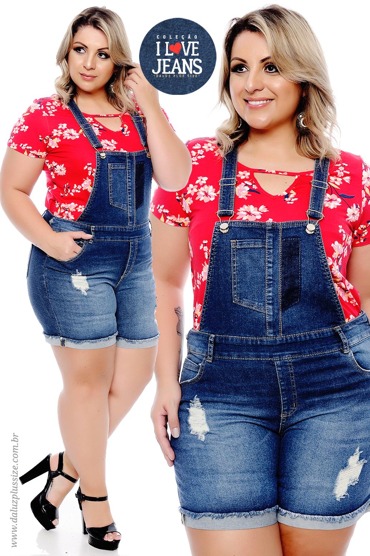 700c84f9e1 Jardineira Jeans Plus Size - Alto Verão 2018 - www.daluzplussize.com ...