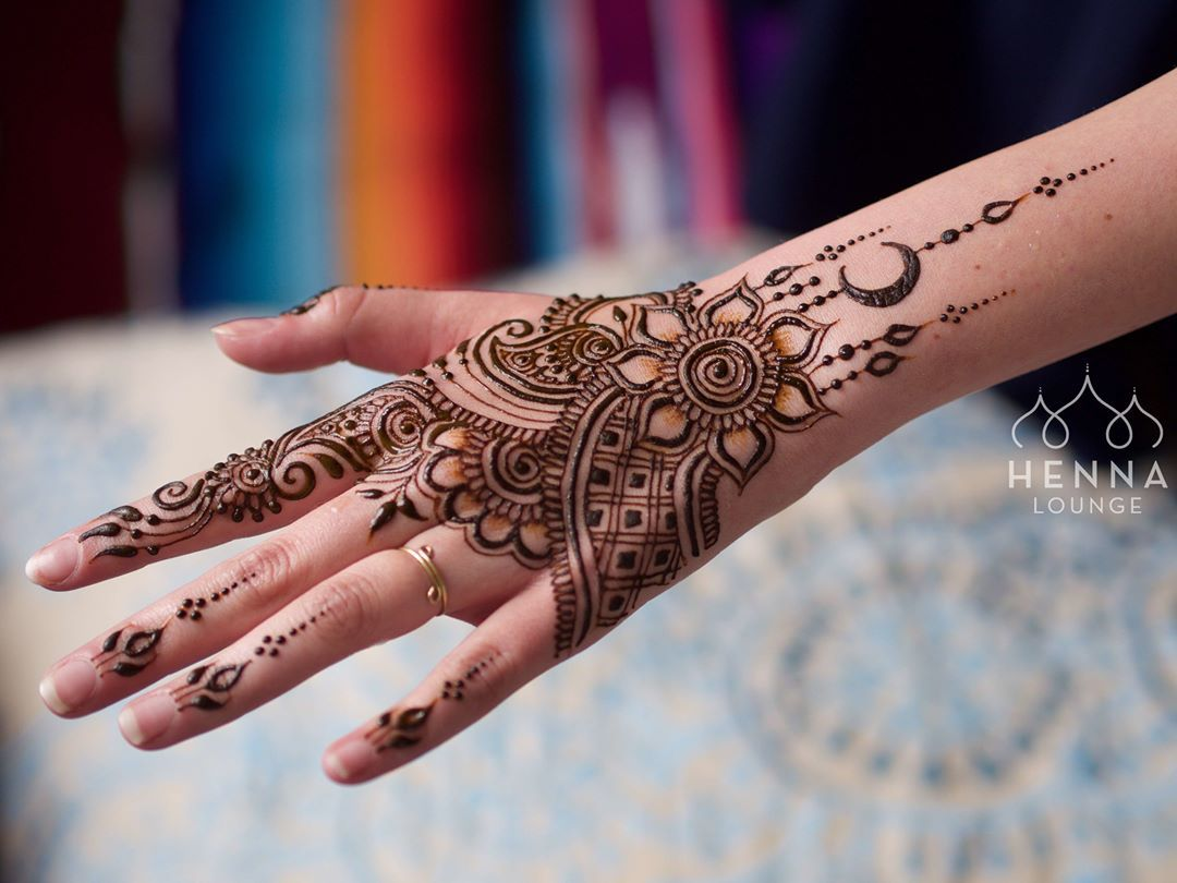 This charming girl requested a moon in her design. #henna ...