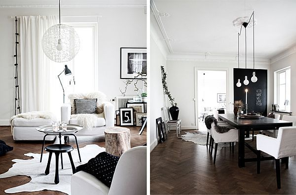 Scandinavian House Designed With Simple Black And White Hues Scandinavian Interior Style Scandinavian Interior Design Dining Room Design