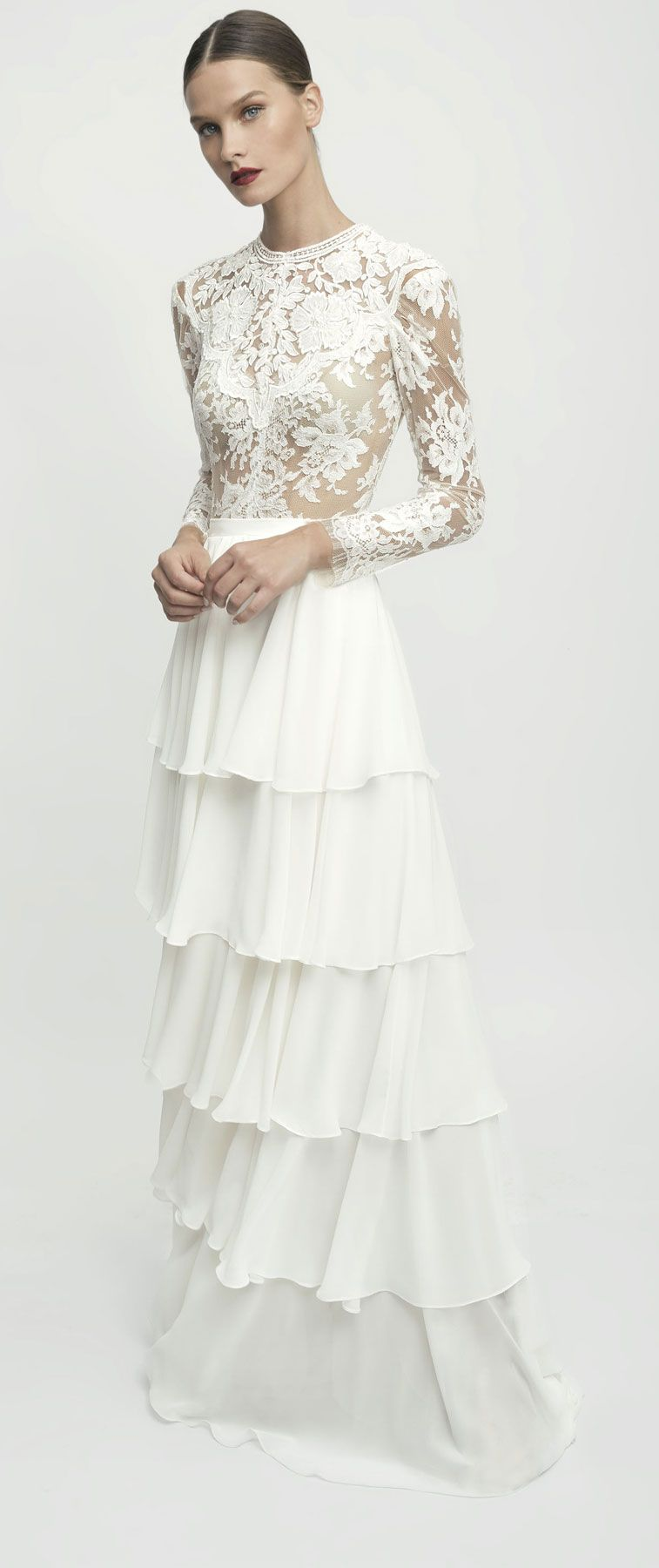 Bridal long sleeves layered skirt a line wedding dress #weddingdress #wedding #weddinggown #bridedress