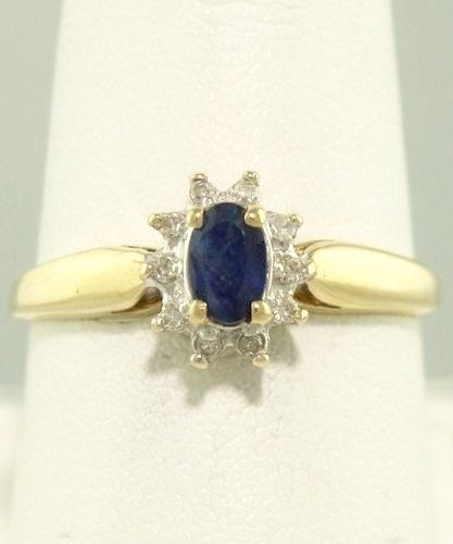 Vintage 10k Gold Ladies Blue Sapphire Diamond Ballerina Ring Diamond Halo Blue Sapphi Yellow Gold Cocktail Ring Sapphire Cocktail Ring Diamond Ballerina Ring