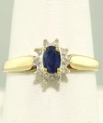 Vintage 10k Gold Ladies Blue Sapphire Diamond Ballerina Ring Diamond Halo Blue Sapphi Yellow Gold Cocktail Ring Sapphire Cocktail Ring Diamond Ballerina Ring