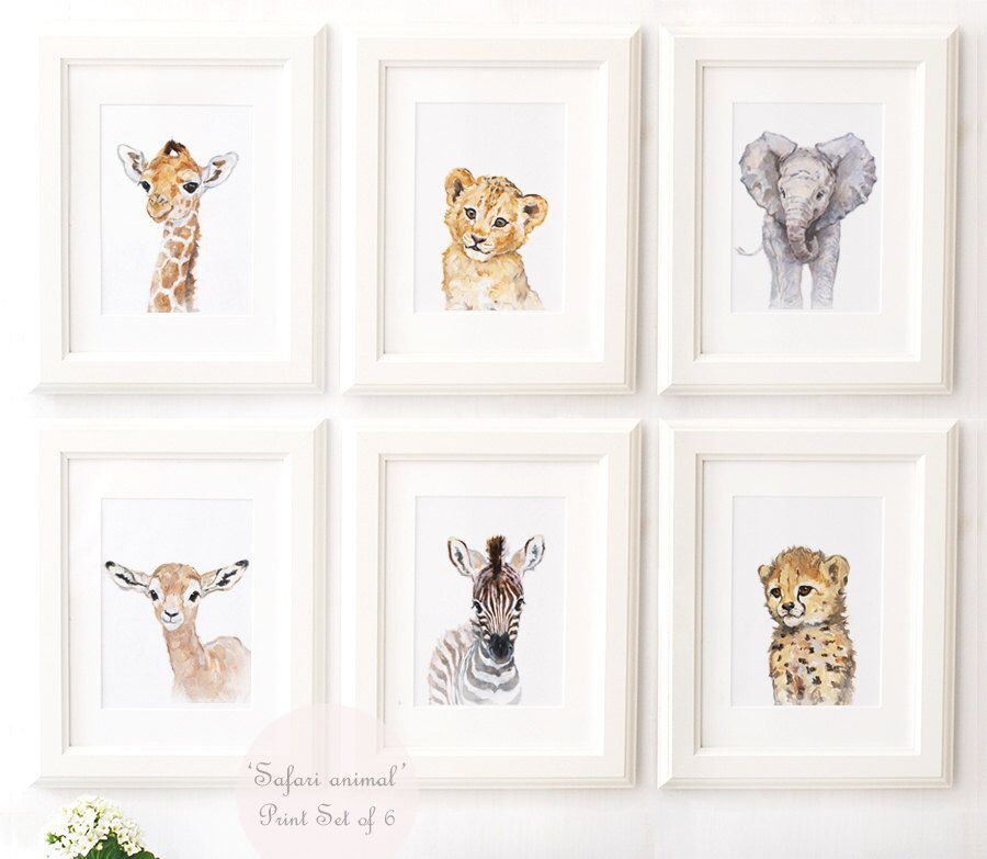 African Animals Safari Nursery Animal Portrait Set Of 4 Giclee Art Baby Lion Giraffe Zebra