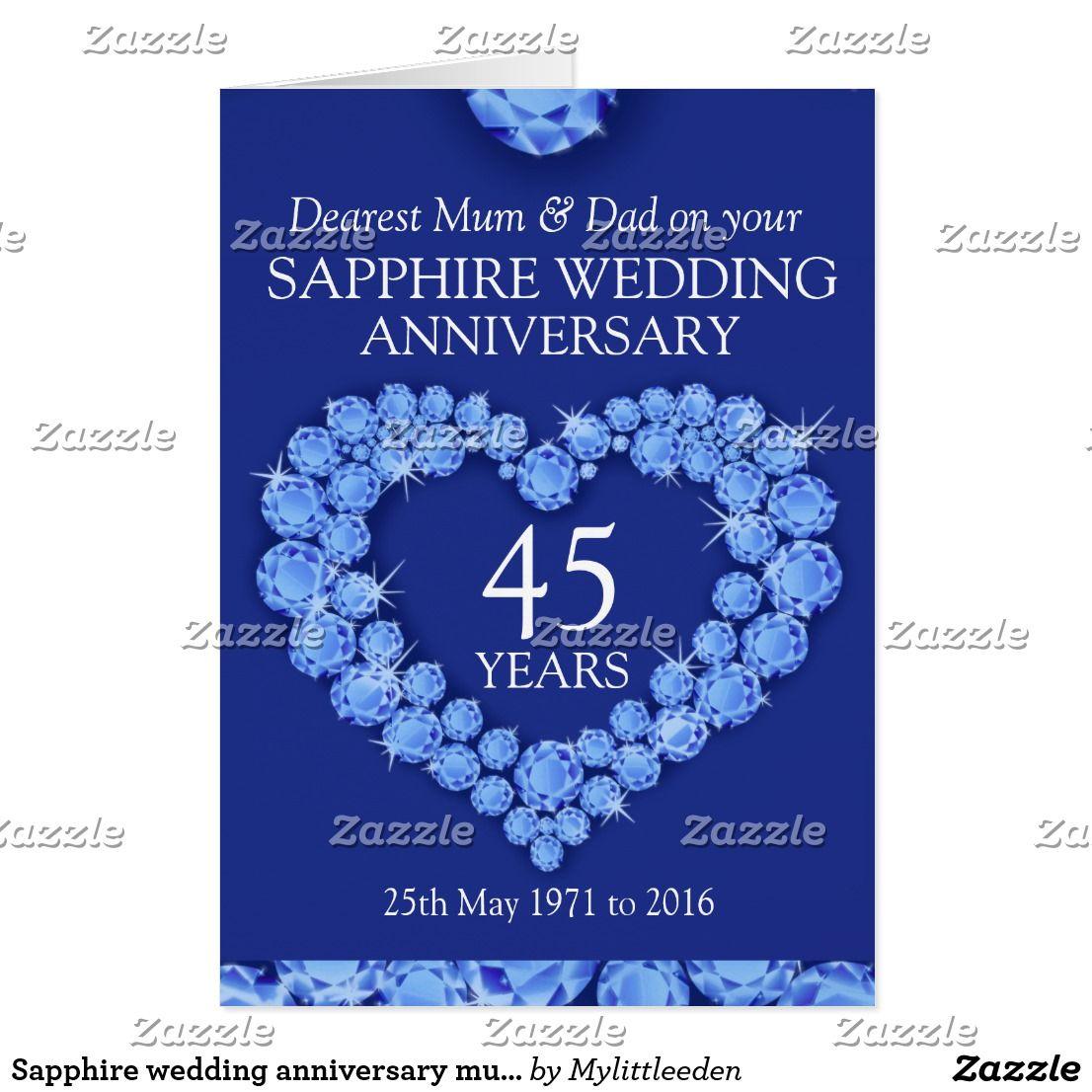 Sapphire wedding anniversary mum and dad card Zazzle.co