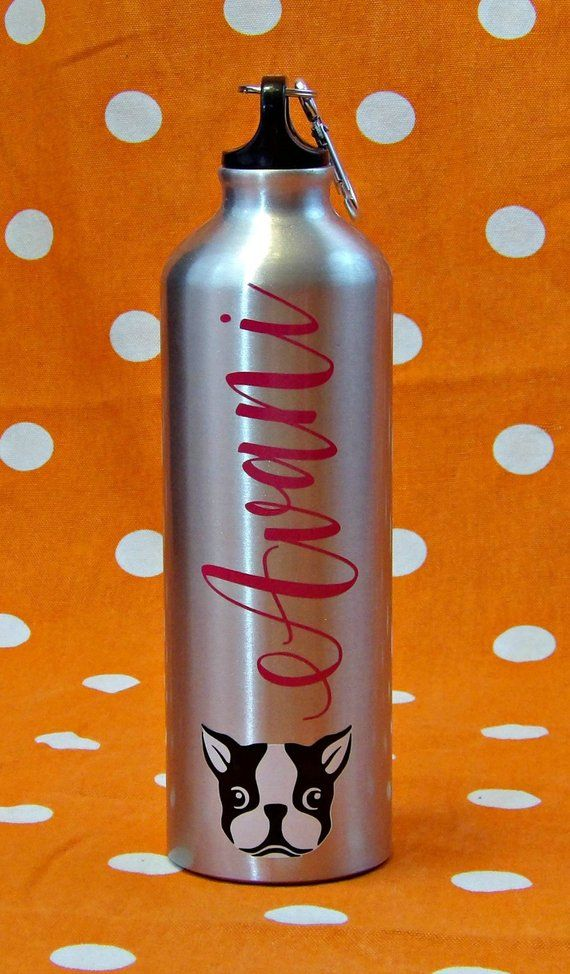 Personalized Boston Terrier Aluminum Water Bottle BPA Free Birthday Party Favor Gift