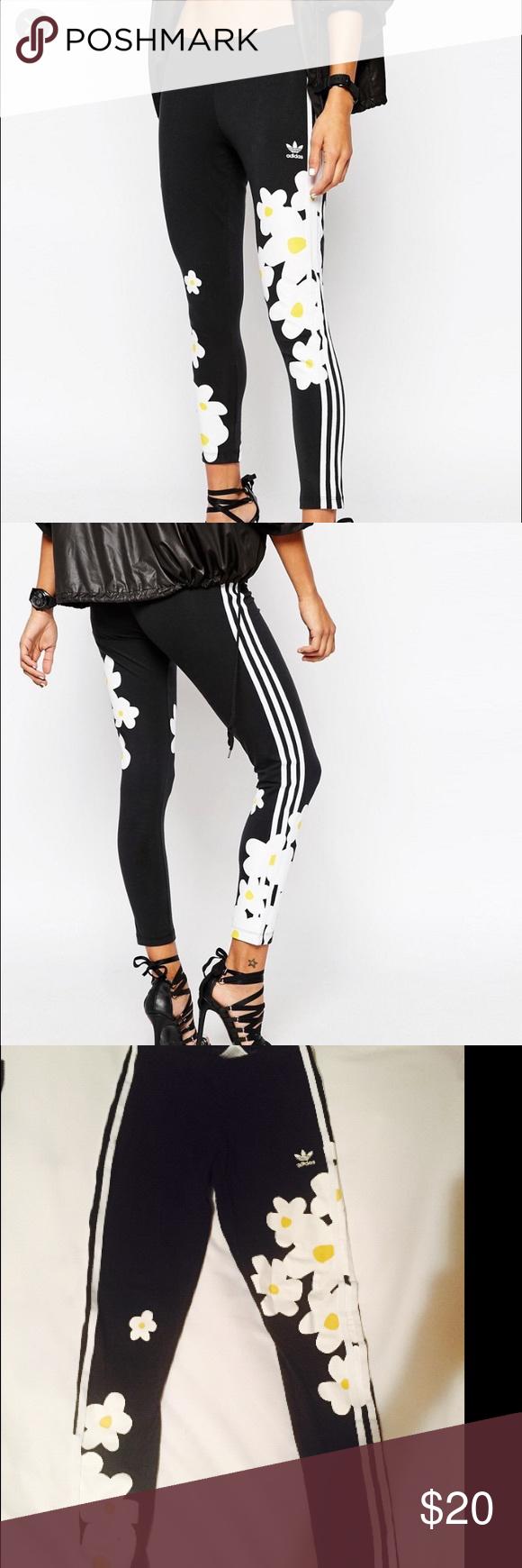 dd0f4bc5054c ADIDAS originals Pharrell Williams leggings XS Women s Black Originals  Pharrell Williams 3 Stripe Leggings With Daisy Floral Print size XS worn 2  times ...