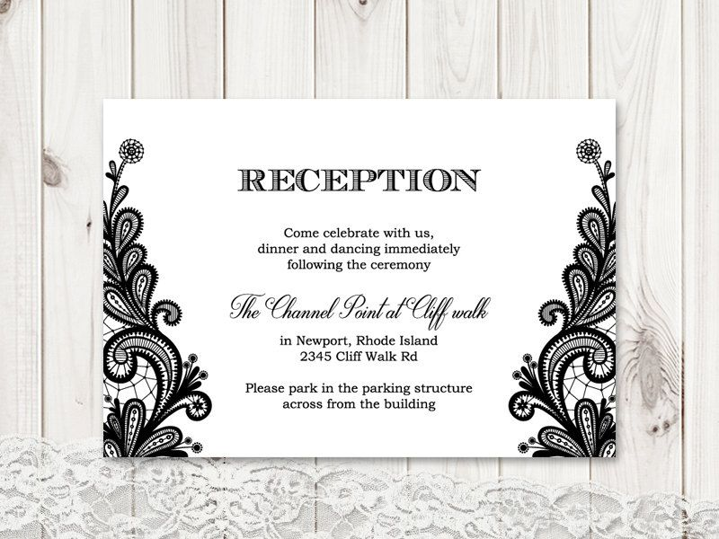 """formal wedding reception card template """"vintage lace"""