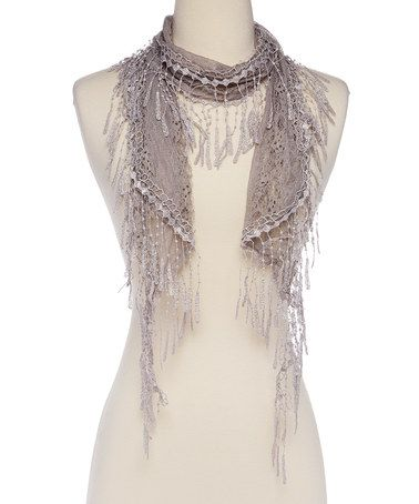 Another great find on #zulily! Gray Lace Scarf #zulilyfinds