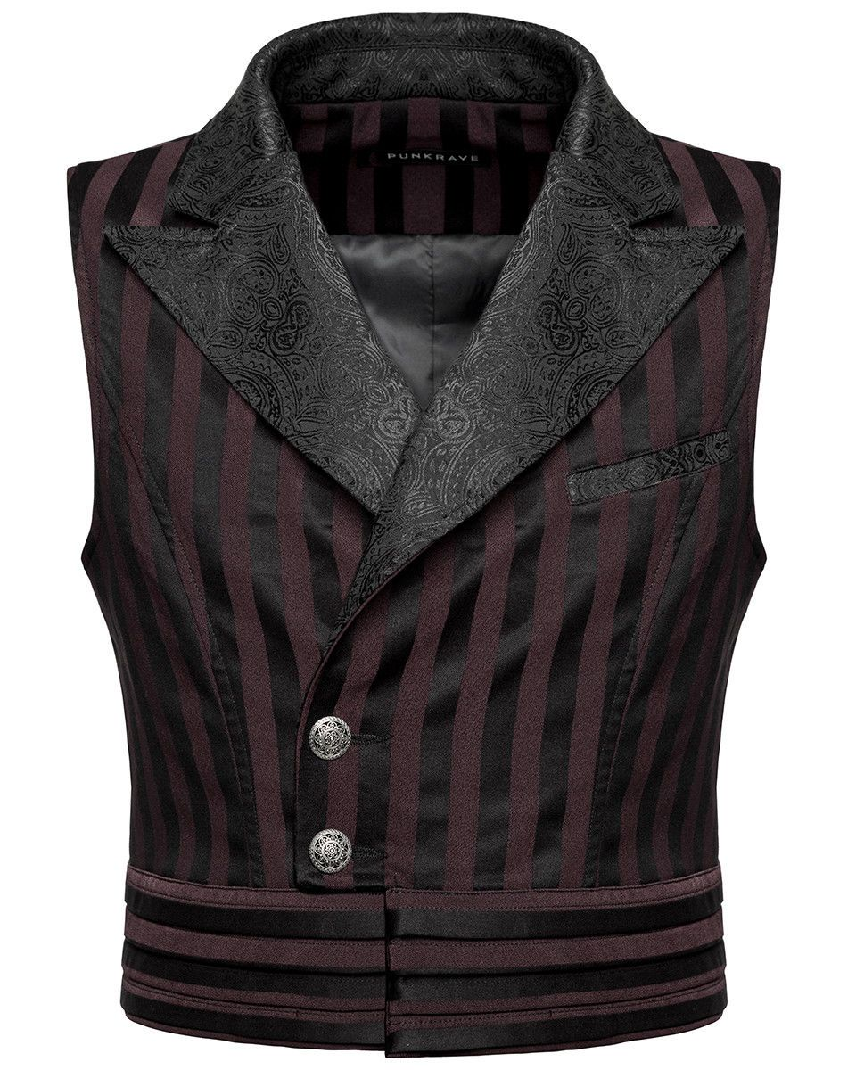 Punk Rave Steampunk Waistcoat Vest Black Brown Stripe Gothic Victorian Gentleman