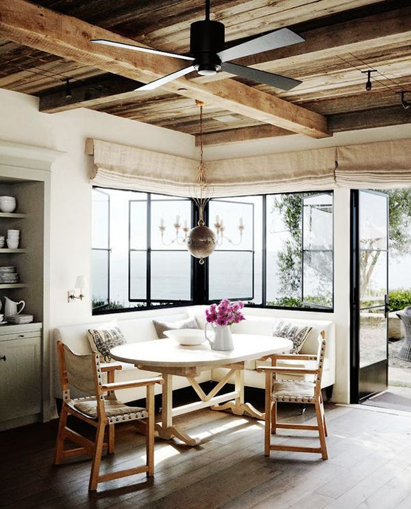 Windows, simple, rustic, linen, director chairs.