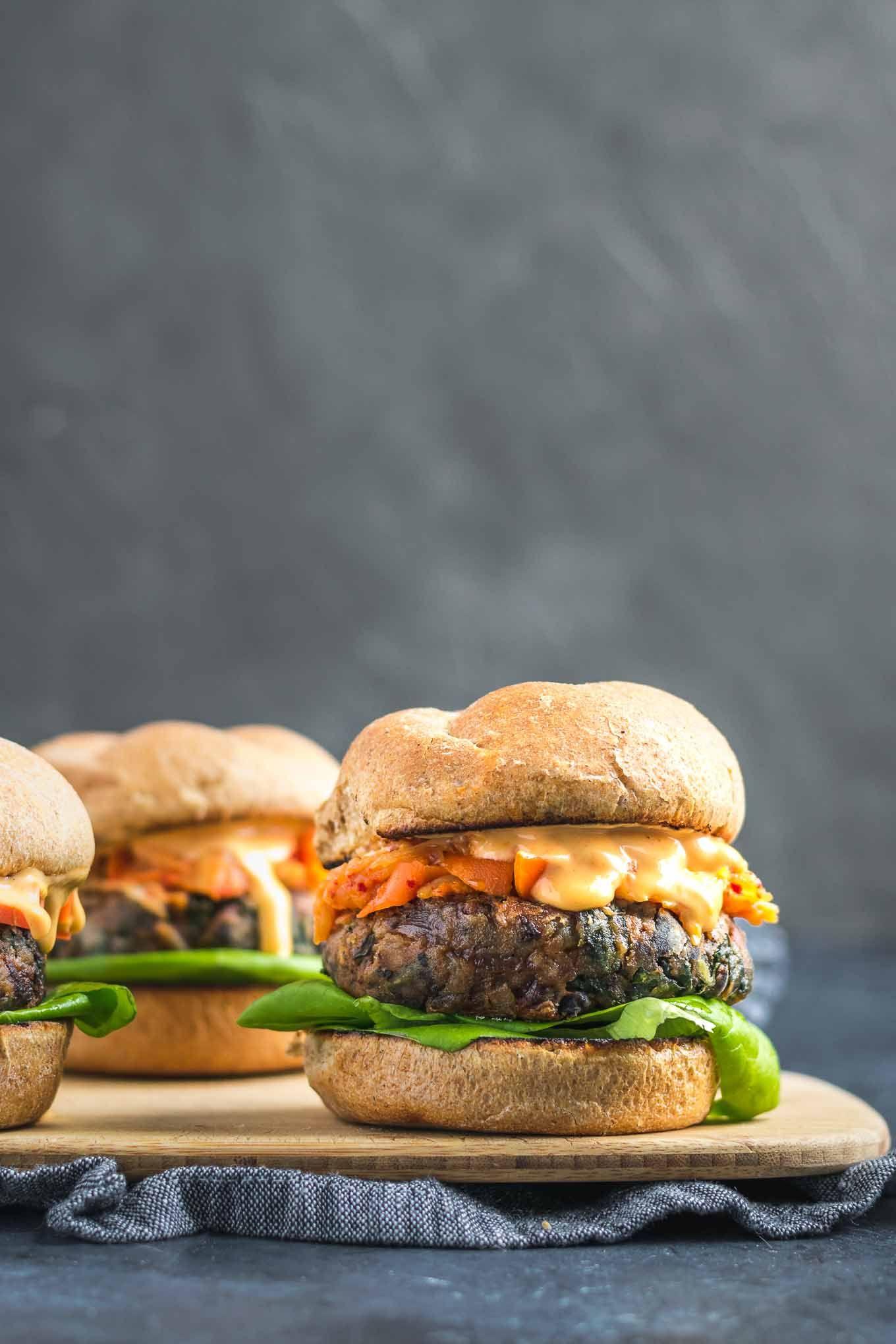 Vegan Gochujang Bean Burgers Recipe Vegan Burger Recipe Veggie Burgers Recipe Bean Burger