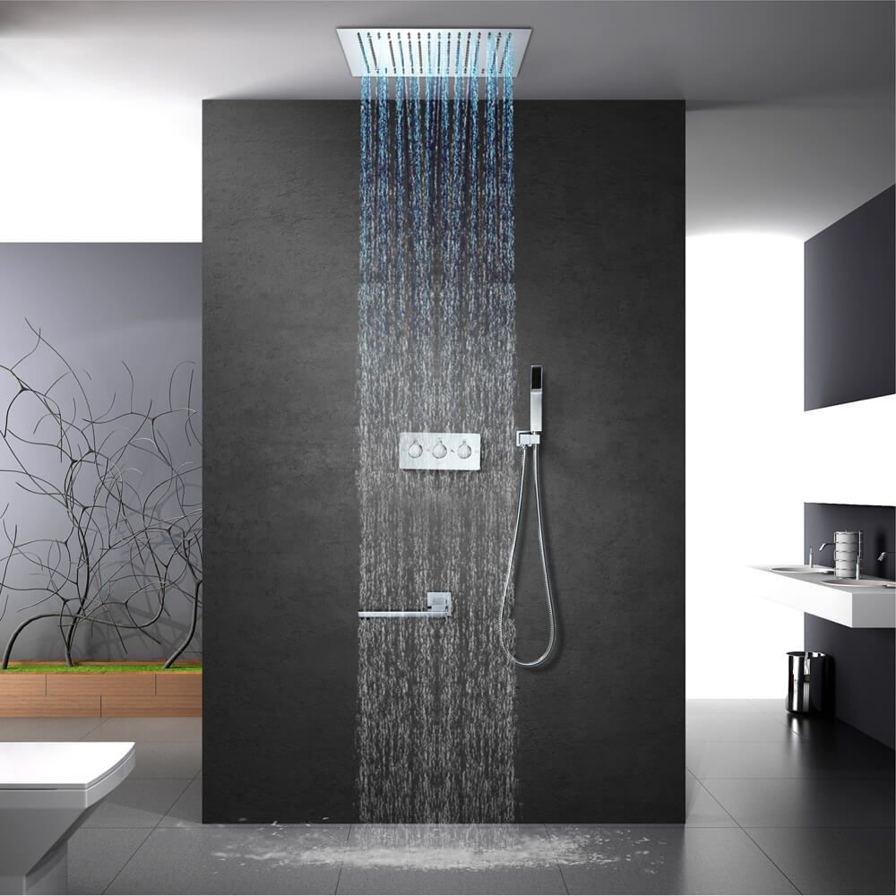 Led Shower Wall Mounted Four Function Copper Hot And Cold Concealed Shower 16inch In 2020 Shower Faucet Sets Rainfall Shower Head Led Shower Head