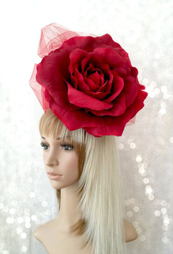 5c7a189b9f2b5 Kentucky Derby Fascinator Red Rose Hat Wedding by ChikiBird
