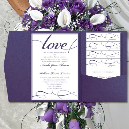 "Print Your Own Wedding Invitation: DIY Pocket Wedding Invitations ""It's Love"" Purple"