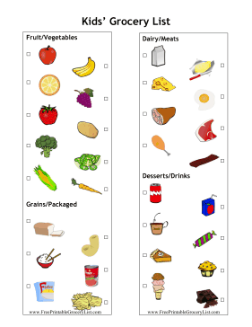 this master grocery list is great for shopping with kids each picture has a check mark box so children can help pick out groceries