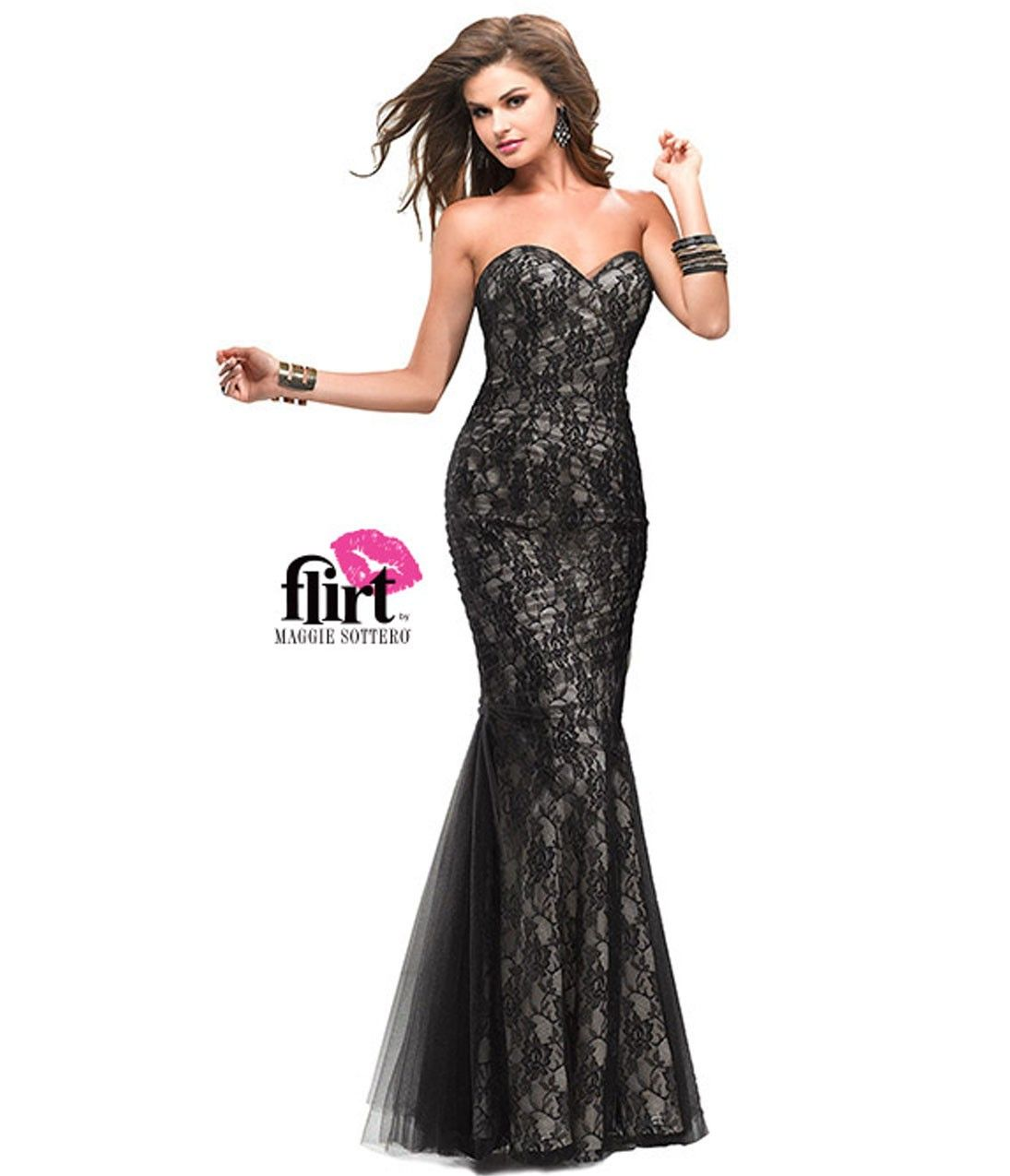 Prom Dress 2014 Collection Strapless Gown With Lace: Flirt By Maggie Sottero 2013 Prom Dresses