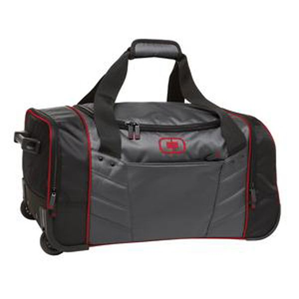 Ogio Hamblin Wheeled Duffel Wheeled duffel will skate effortlessly through the airport or train station, with this durable wheeled duffel that's sized to fit your trip. 420D poly. Locking retractable handle for optimum mobility. Large center storage area. Hidden front exterior zippered stash pocket. Side exterior zippered pockets. Wrapped handle. Strong, durable grip handle on foot. Soft grip handles on top for easy lifting. In-line skate wheels. #ogio