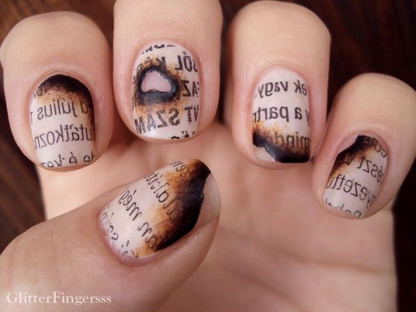 Burned paper nails must see amazing beauty trusper tip nail very cool idea maybe for banned books week how to burned paper nails prinsesfo Image collections