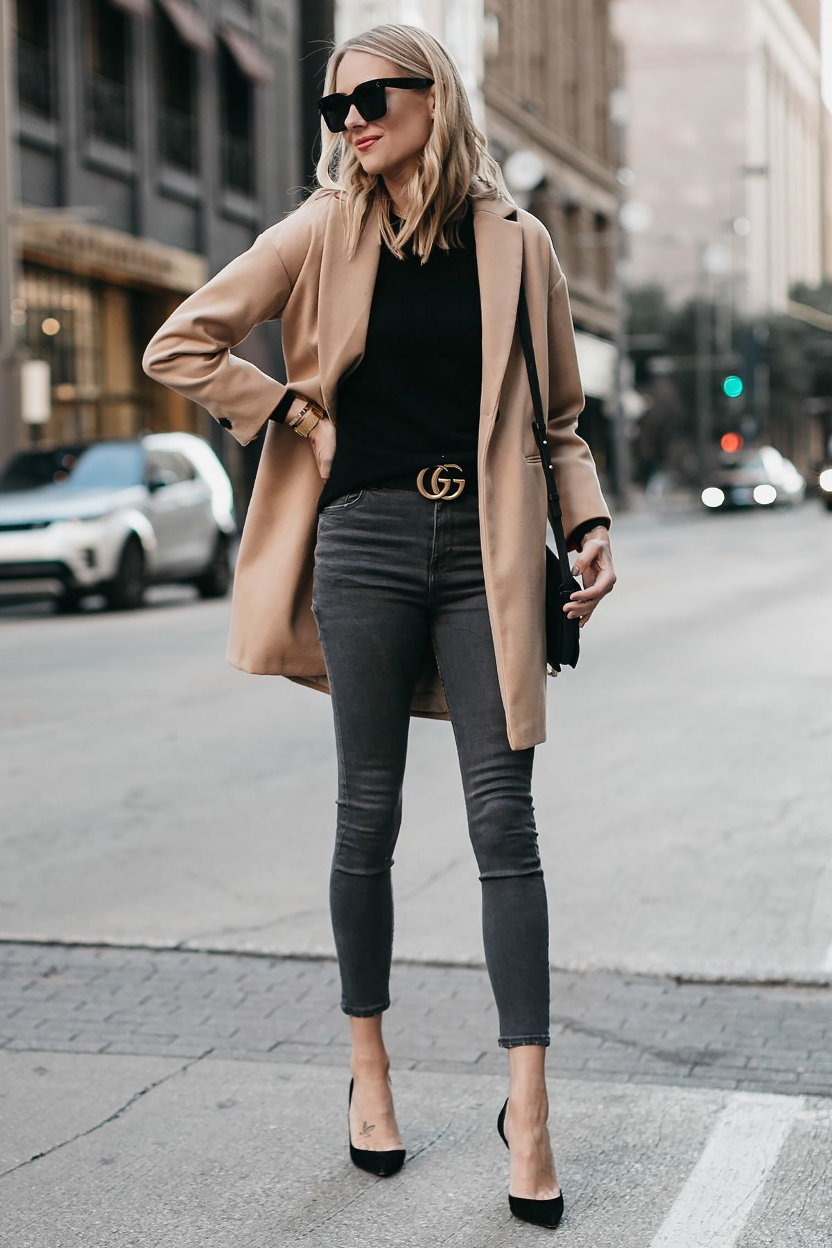 Blonde Woman Wearing Topshop Camel Coat Black Sweater Grey
