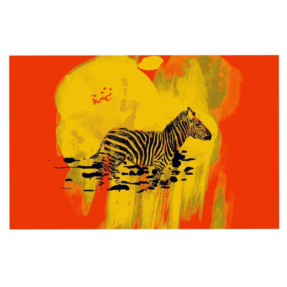 "Frederic Levy-Hadida ""Watercolored Red"" Zebra Decorative Door Mat"