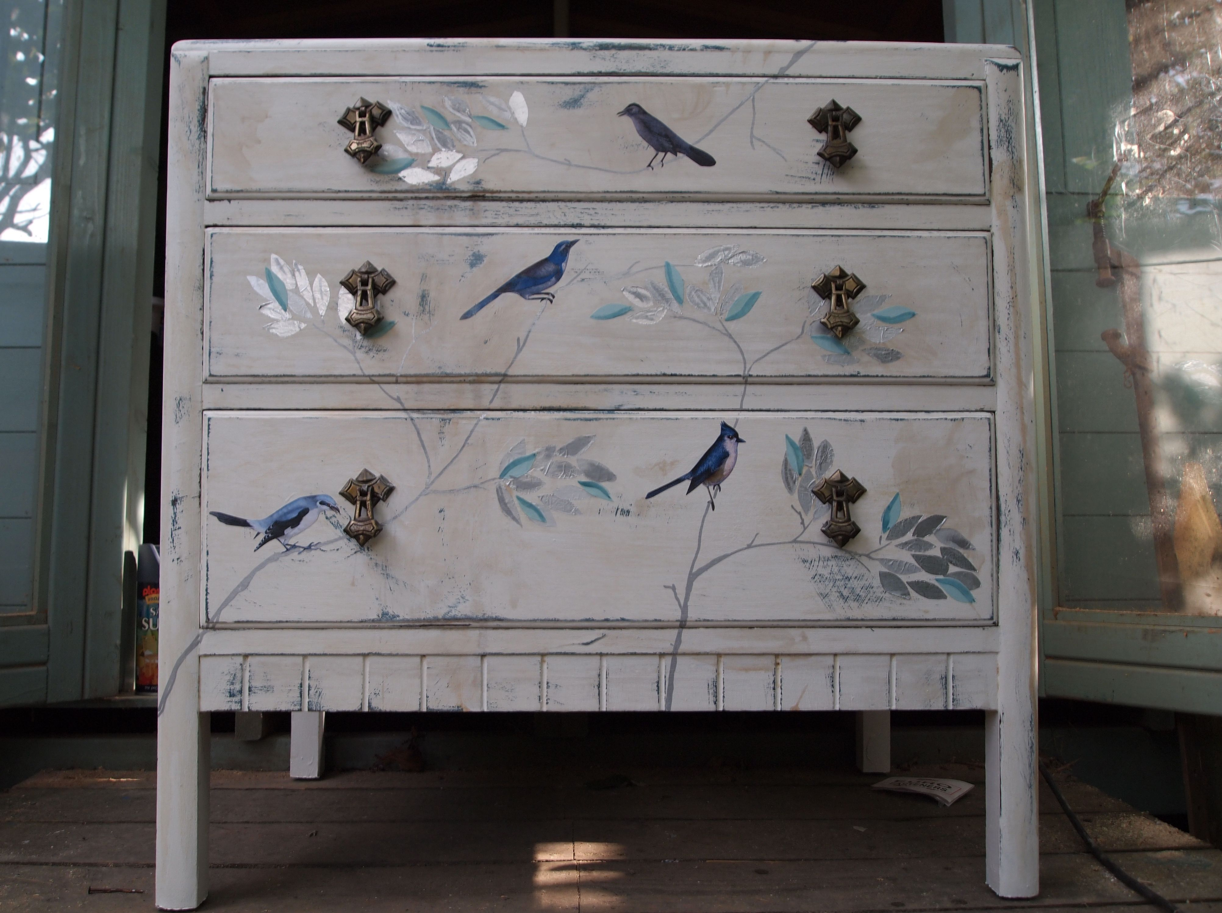 Painting furniture shabby chic - Vintage Chest Of Drawers Painted In White Distressed And Stained To Age It Decorated