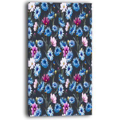 "DesignArt Multi Color Corn Flowers Floral Painting Print on Wrapped Canvas Size: 40"" H x 20"" W x 1"" D"