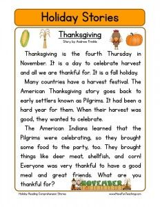 Thanksgiving Reading Page Freebie