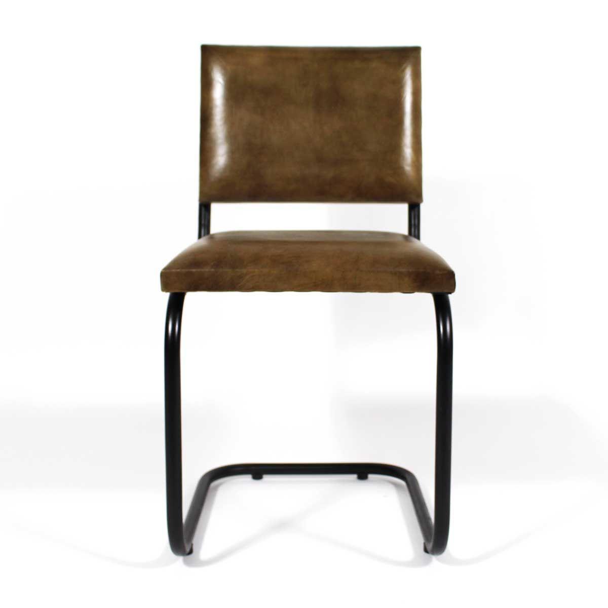 Chaise Industrielle Cuir Et Metal Pieds En S Chaise Industrielle Mobilier De Salon Chaise Salle A Manger