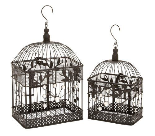 Garden Décor Square Bird Cage (Set of 2) by Woodland Imports. $51.82. Design is stylish and innovative. Satisfaction Ensured.. Great Gift Idea.. Manufactured to the Highest Quality Available.. 55117 Features: -Set of 2.-Material: Metal.-Artificial jewels.-Square shape.-Garden decor.
