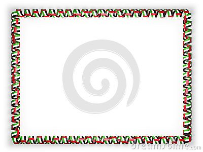 Frame And Border Of Ribbon With The United Arab Emirates Flag 3d