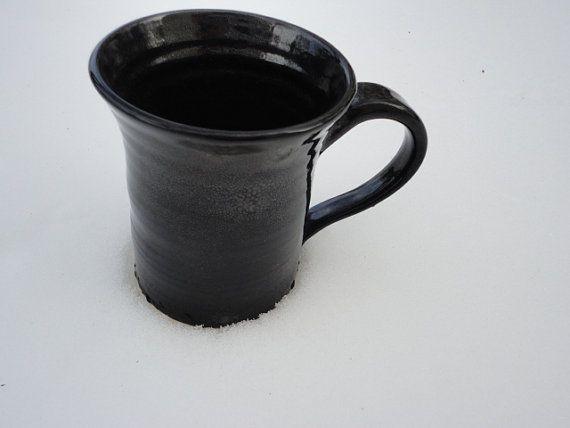 Pottery Mug in Jet Black Jumbo size by NancyBloklandPottery, $22.00
