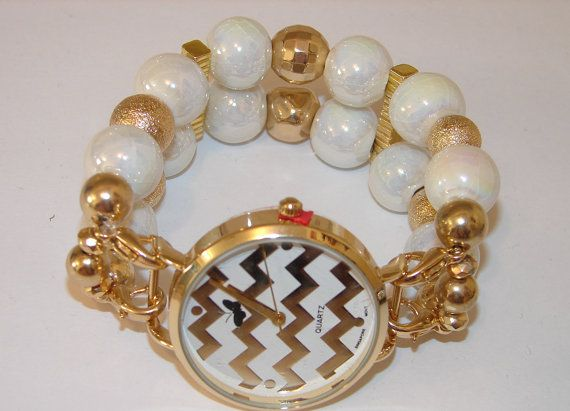 Gold and White Chevron Beaded Watch Beaded by BeadsnTime on Etsy
