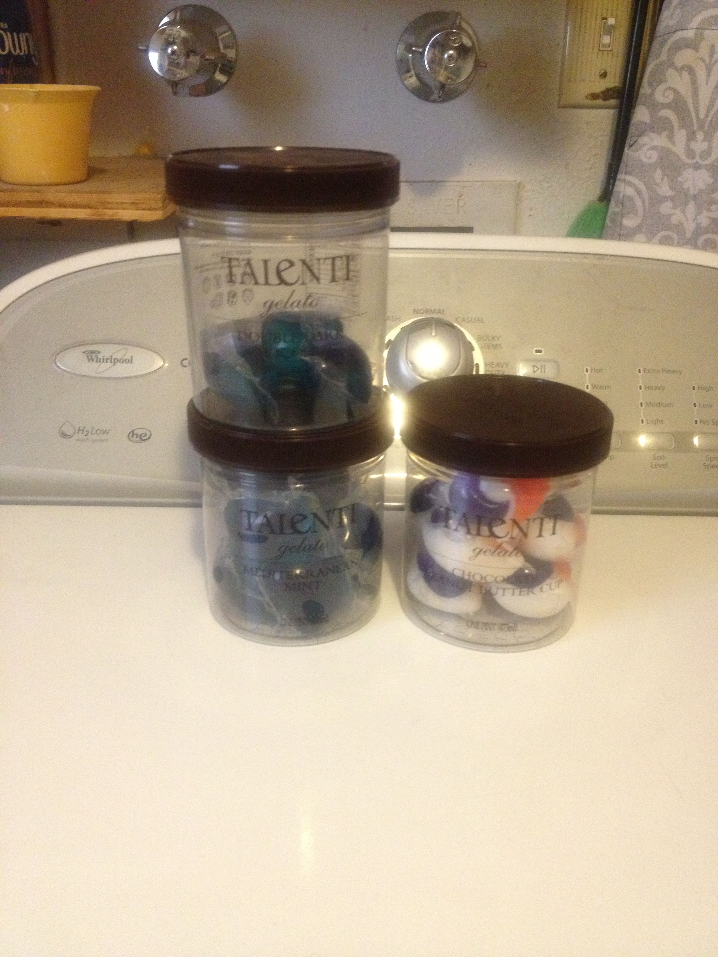 Talenti Gelato plastic containers are great for storing Tide Pods or other laundry detergent pods. It seals the moisture out while saving the space that the bags take up. It also looks more organized. #tidepodscontainercrafts