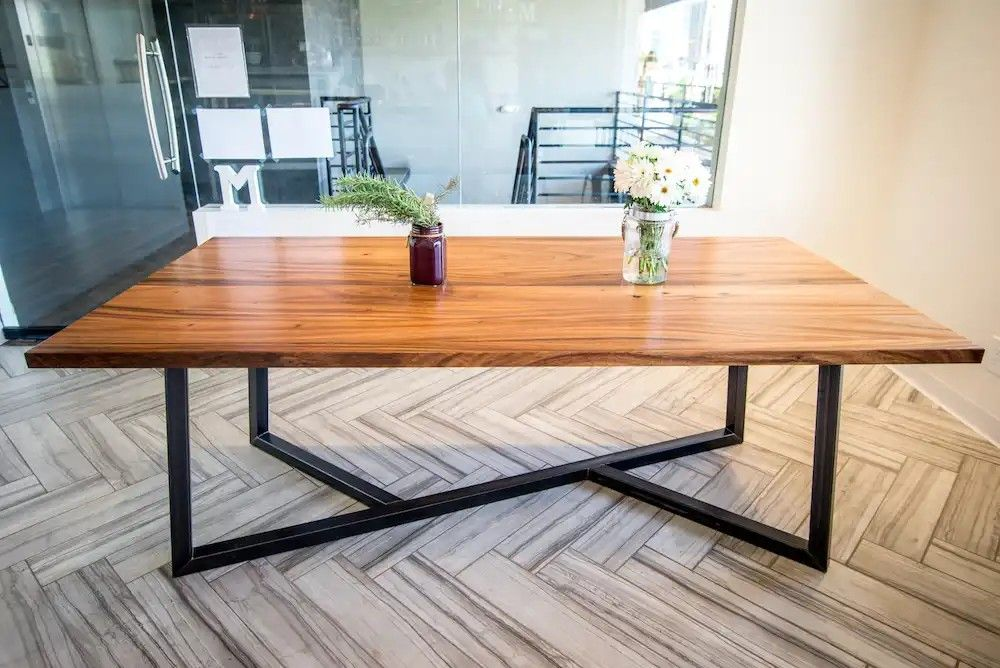 Pin By Mike Soltys On Tables Metal Dining Table Metal Wood