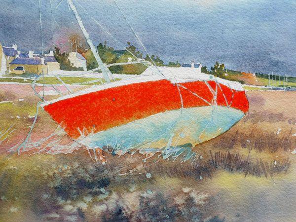 Le voilier rouge – pas à pas aquarelle