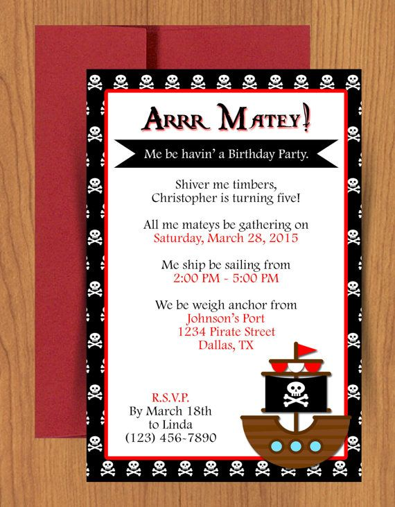 Pirate Ship Invitation Pirate ships - microsoft birthday invitation templates