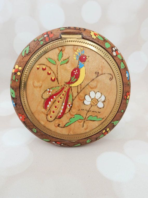 Antique Powder Compact - Handpainted Compact - Collectible Compact - Wood Compact - Bird of Paradise Compact - Floral Compact - Gift For Her