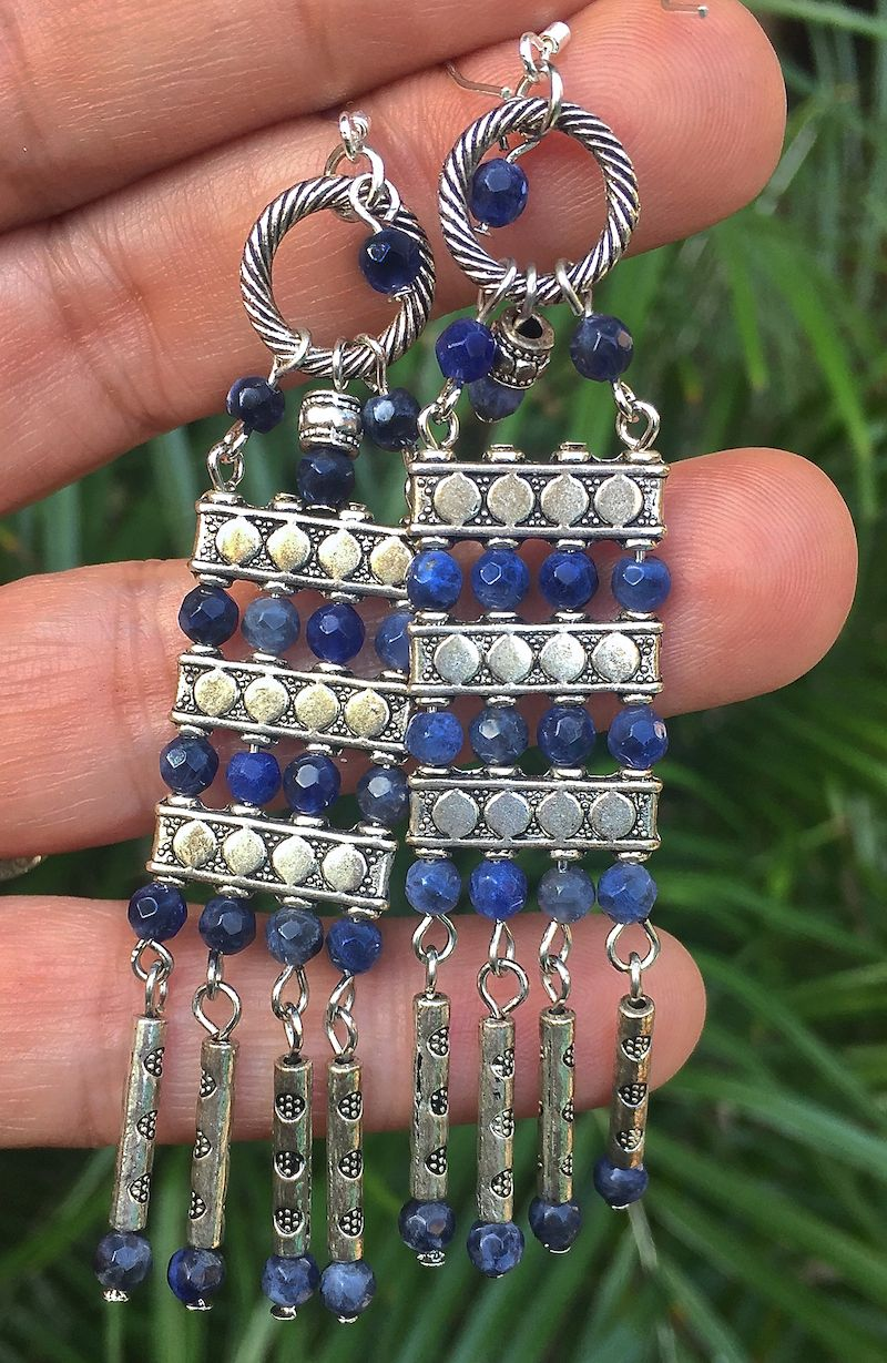 Bohemian blue diy earrings halcraft collection owners