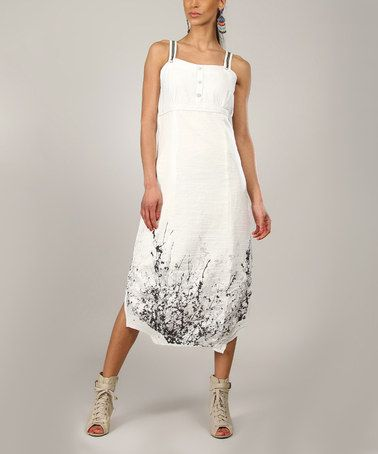 Another great find on #zulily! White & Black Abstract Midi Dress - Women #zulilyfinds