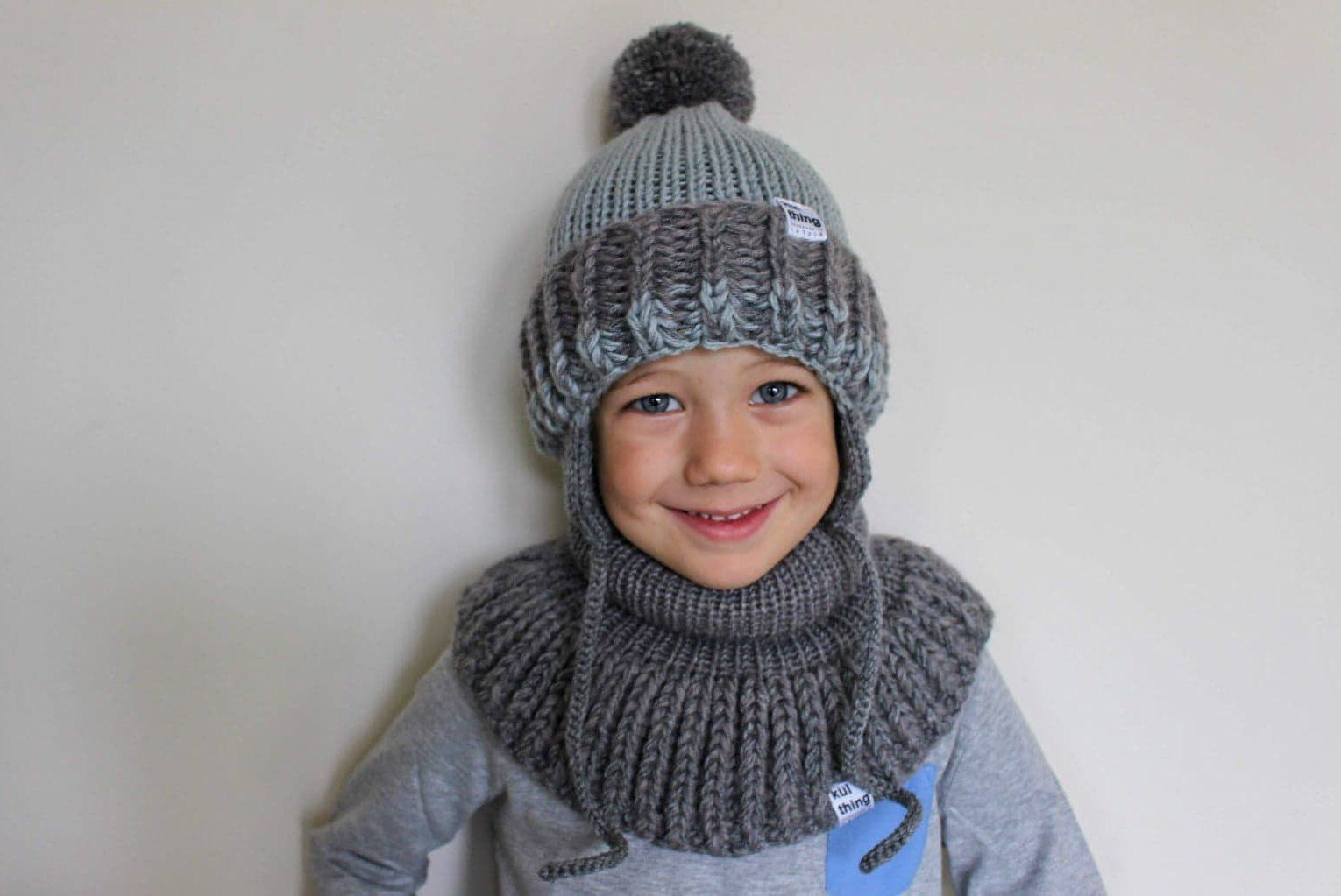 knit unisex winter set for kid knitted snood scarf Christmas gift for kids Grey white knitted toddlers set knit pom pom ear flaps hat