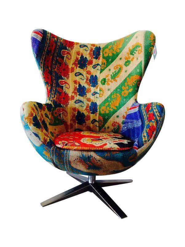 This Modern Arne Jacobsen Style Egg Chair Upholstered In Vintage Kantha  Fabric Has Us Feeling Faint. What A Charmer! Itu0027s In Showroom Floor  Condition And ...