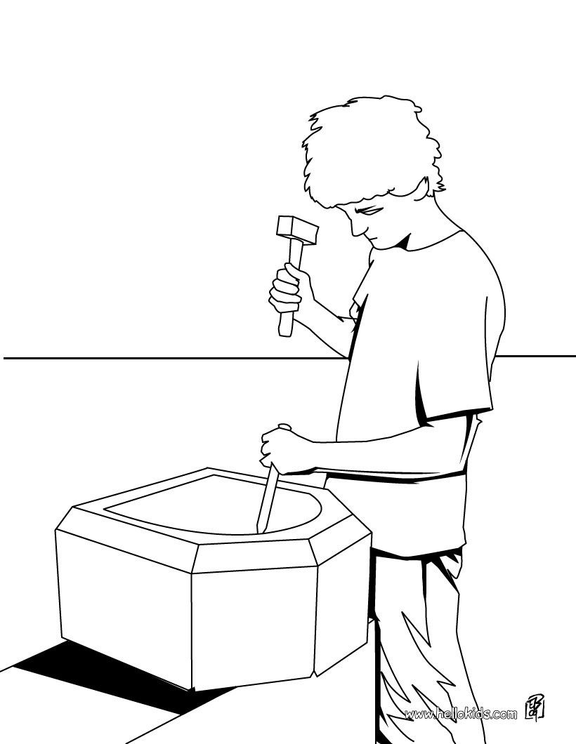 Carpenter coloring page. Amazing way for kids to discover job. More ...