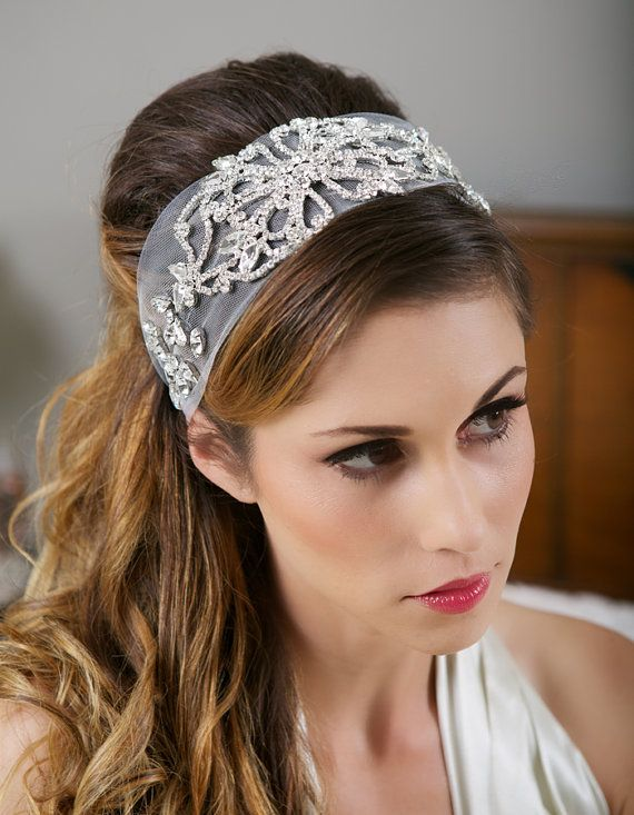 Ivory Tulle Crystal Headband Great Gatsby Veil Wedding Head Wrap Alternative Rhinestone 1920s Style