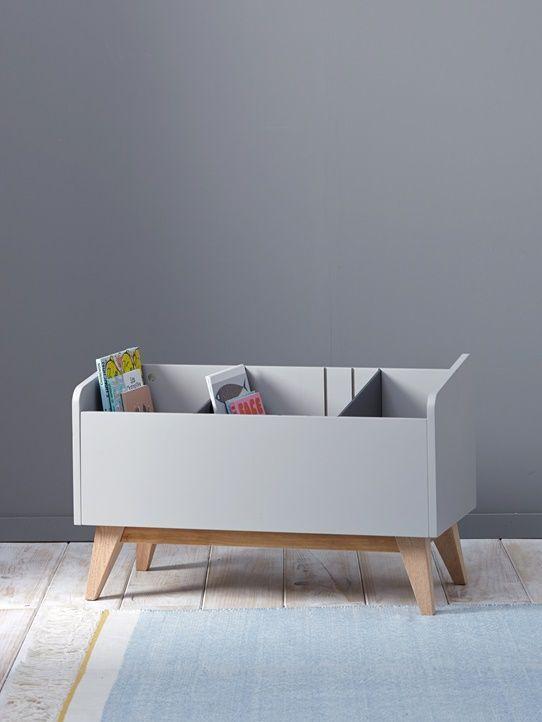 Bücherkasten Grau+Weiß 1 Bücherregal kinderzimmer