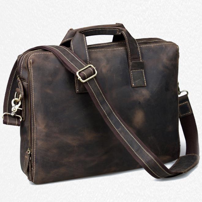 90ec8eb12d Men's Handmade Vintage Leather Briefcase / Leather Messenger Bag / 13